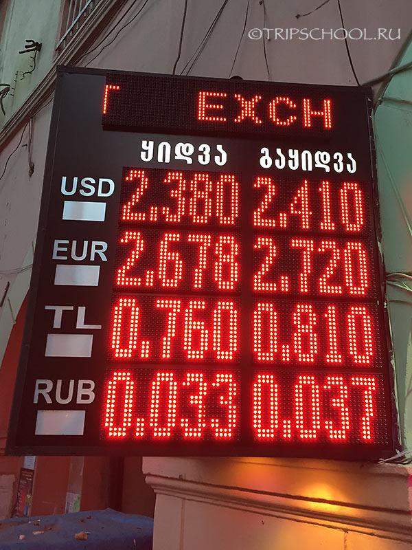 Табло пункта обмены валюты, Батуми